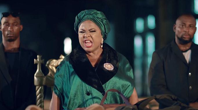 King of Boys Production Still - Sola Sobowale (Eniola Salami) threateninng