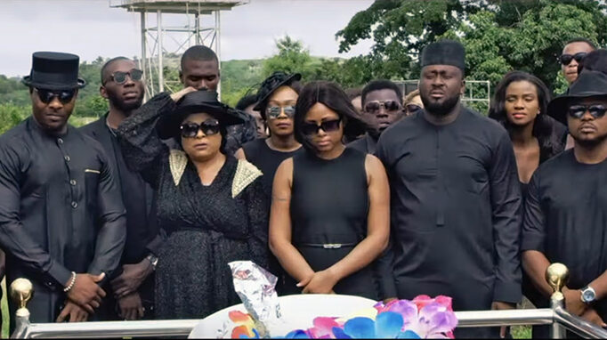 The Enemy I Know - production still: funeral scene Regina Daniels, Bolanle Ninalowo, Sola Sobowale, and Desmond Elliott